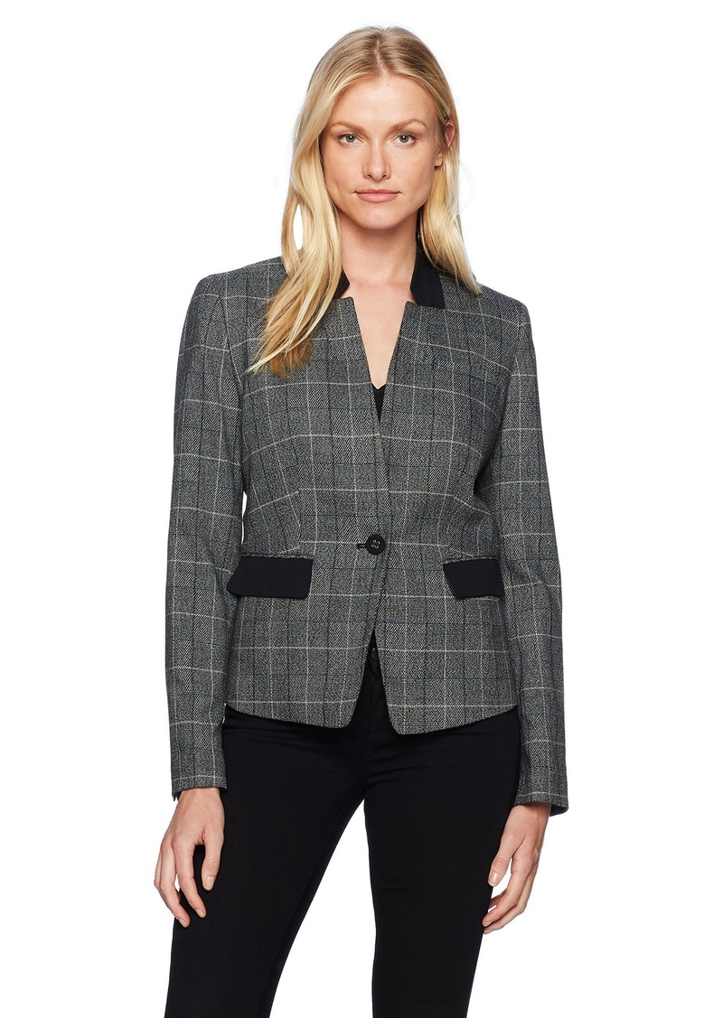 Nine West Women's Plaid Jacket with Solid Back Collar and Pockets