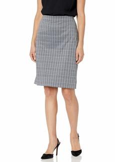 Nine West Women's Plaid Slim Pull ON Skirt Black/Oasis Multi L