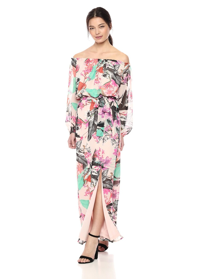 Nine West Women's Pleated Bodice Off The Shoulder with Shirred Maxi Dress