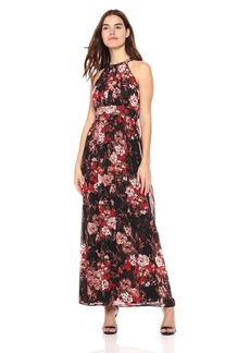 Nine West Women's Pleated Bodice With Shirring At Waist Maxi Dress