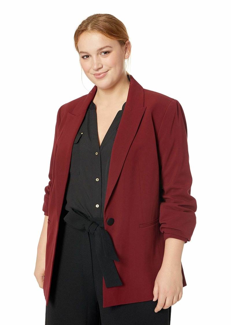Nine West Women's Plus Size 1 Button Notch Collar Stretch Jacket