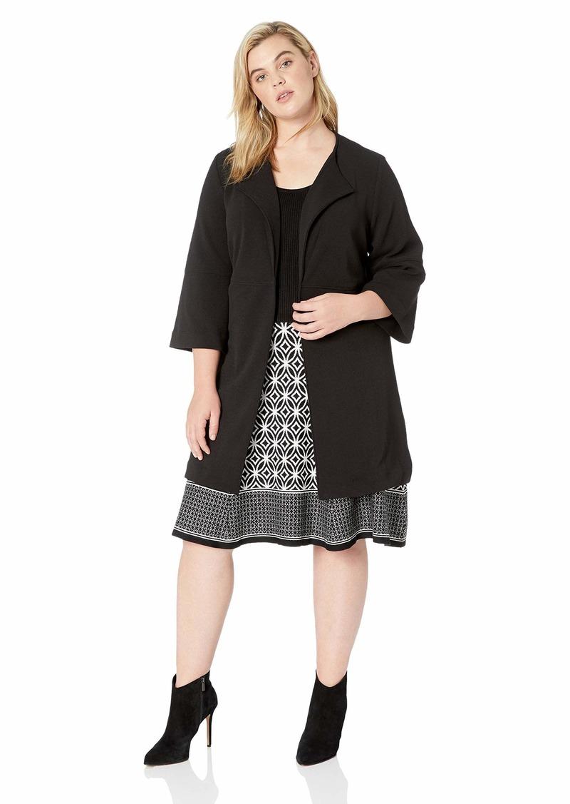 Nine West Women's Plus Size 3/4 Sleeve Wide Lapel Collar Woven Topper
