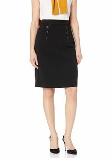 NINE WEST Women's  Button Crepe Skirt