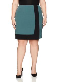 Nine West Women's Plus Size A Line Colorblock Skirt