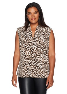 Nine West Women's Plus Size Animal Print Ity V Neck Blouse