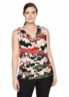Nine West Women's Plus Size Cap Sleeve Cowl Neck Printed ITY