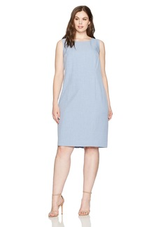 Nine West Women's Plus Size Cap Sleeve Cross Dye Dress with Seaming