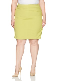Nine West Women's Plus Size Crepe Skirt with Front Seaming
