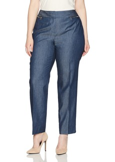 Nine West Women's Plus Size Denim Zip Pockets Slim Pant