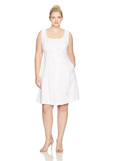 Nine West Women's Plus Size Fit and Flare Linear Burnout Dress with Sash