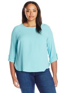 Nine West Women's Plus Size Jewel Neck Roll Up Sleeve Blouse