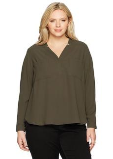 Nine West Women's Plus Size Long Sleeve Two Pocket Blouse