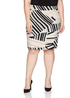 Nine West Women's Plus Size Multi Stripe Skirt Shell