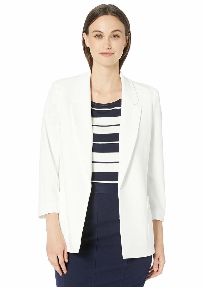 Nine West Women's Plus Size Notch Collar Crepe Jacket