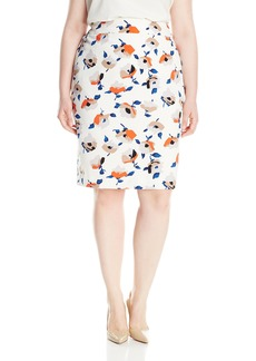 Nine West Women's Plus Size Printed Crepe Skirt