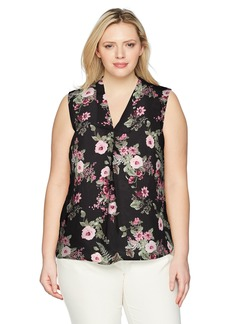 Nine West Women's Plus Size Printed Floral V Neck Blouse