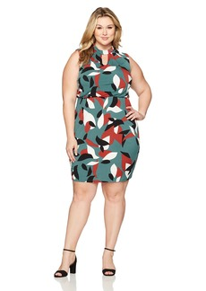 Nine West Women's Plus Size Printed Ity Keyhole Dress