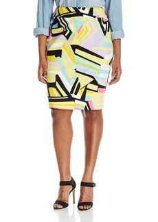 Nine West Women's Plus Size Printed Slim Skirt