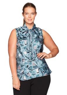 Nine West Women's Plus Size Printed V Neck Bow Blouse