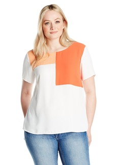Nine West Women's Plus Size Short Sleeve Colorblock Crepe Top
