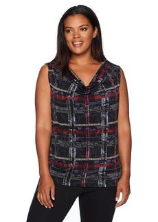 Nine West Women's Plus Size Short Sleeve Drape Neck Ity Cowl Blouse