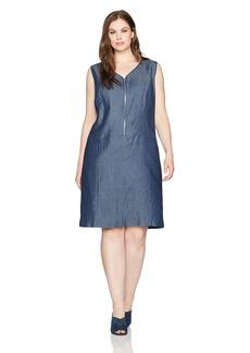 Nine West Women's Plus Size S/l Denim Zip Front Dress