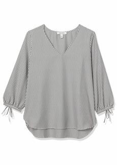 NINE WEST Women's Seersucker Stripe V Neck Tunic Blouse with TIE Sleeve BLACK/IVORY-9WY S
