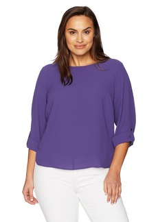 Nine West Women's Plus Size Solid Crepe Roll Tab Blouse