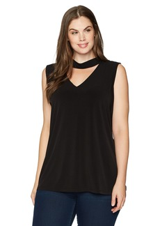 Nine West Women's Plus Size Solid Knit Blouse with Collar Detailing