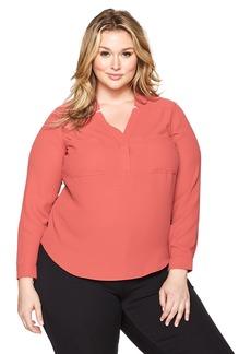 Nine West Women's Plus Size Solid Long Sleeve Two Pocket Blouse (2)
