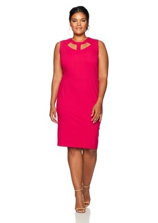 Nine West Women's Plus Size Solid Ponte Dress with Cut Outs in Neckline