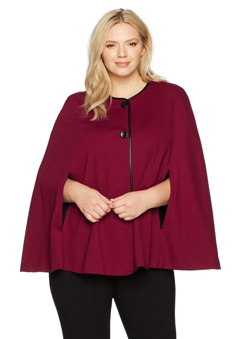 Nine West Women's Plus Size Solid Ponte Jacket with Leather Trim