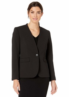 Nine West Women's Plus Size Stand Collar ONE Button Drapey Crepe Jacket
