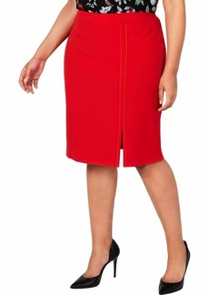NINE WEST Women's Plus Size Stretch Skirt with Front Detail  W