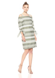 Nine West Women's Polka Dot Stripes Off the Shoulder Dress with Straps