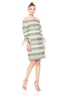 Nine West Women's Polka Dot Stripes Off The Shoulder Dress with Straps