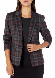Nine West Women's Ponte 1 Button Notch Collar Plaid Jacket