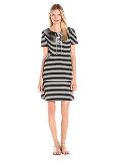 Nine West Women's Ponte Dress with Short Slvs and Tie up Front