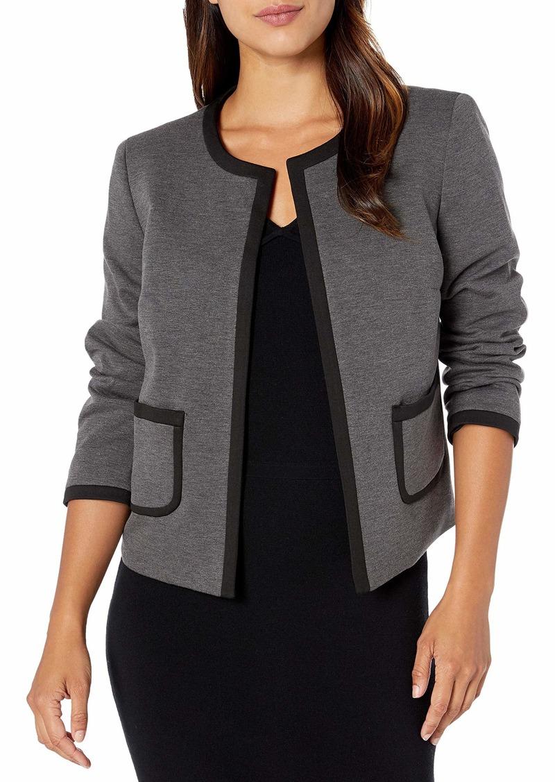 Nine West Women's Ponte Jewel Neck Jacket with Trimming Detail