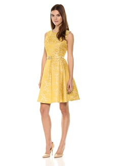 Nine West Women's Princess Seam Dress W Pleat Flare Skirt