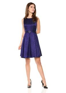 Nine West Women's Princess Seam Dress W Pleat Flare Skirt and Belt