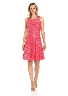 Nine West Women's Princess Seam Floral Lace Dress W/Flared Bottom