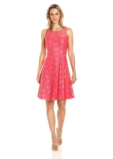Nine West Women's Princess Seam Floral Lace Dress with Flared Bottom