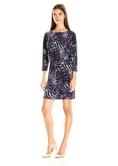 Nine West Women's Printed 3/4 Slv Dolman Blouson Dress