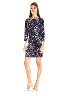 Nine West Women's Printed 3/4 Slv Dolman Blouson Dress