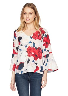 Nine West Women's Printed Amber V-Neck Blouse with Ruffled Bell Sleeve  S