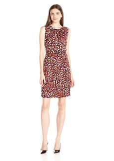 Nine West Women's Printed Belted Dress with Pleated Neckline