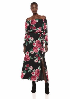 NINE WEST Women's Printed Chiffon Maxi with Sash at Waist Black/Ruby red/Multi