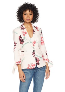Nine West Women's Printed Crepe 1 Button Jacket W/TIE Sleeves