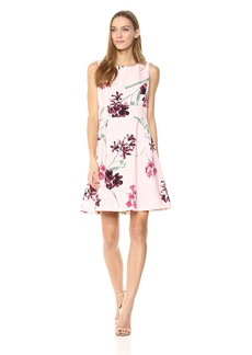 Nine West Women's Printed Crepe Dress With Waist Treatment